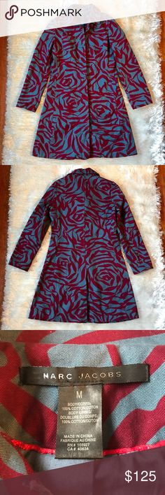 """🎉HP🎉 MARC JACOBS Rose Print Trench Marc Jacobs Trench with a rose pattern in blue and fuchsia. You'll be the only one wearing this beautiful coat. It is light so would be perfect for spring! 3/13 """"Back to Basics"""" host pick. Marc Jacobs Jackets & Coats Trench Coats"""