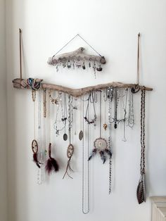 Hang your necklaces, bracelets, earrings, scarves et. al. in style with our driftwood jewelry and accessory holders. These jewelry hangers turn all