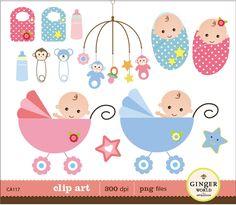 Baby Shower boy & girl clip art