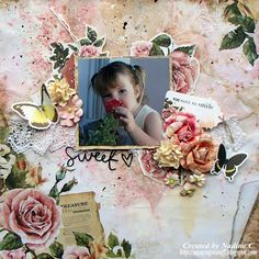 Layout for C'est Magnifique kits using the Kaisercraft Treasured Moment collection by @scrappinready