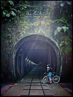 This is the old Caoling Tunnel in Taiwan. Opened in 2008 as the first tunnel rail trail in Taiwan, it is just over long. Taiwan Travel, Asia Travel, Beach Travel, Taipei Taiwan, Hong Kong, Shanghai, Road Trip, Beautiful Islands, Beautiful Places