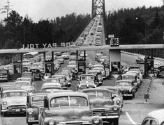 * Lions Gate Bridge – opening day – November 1938 from West Vancouver PD : NOTE : not opening day but likely in the Vancouver Photos, North Vancouver, Downtown Vancouver, Vancouver Island, British Columbia, Old Pictures, Old Photos, West Coast Canada, Lions Gate