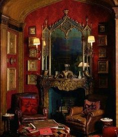 Far too over the top for me but love the experimentation of rich colours and the mirror/ fireplace is stunning.