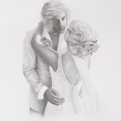 Commissioned Wedding Portrait in Collaboration with Bonbeach. Graphite pencil on Arches watercolour paper. Arches Watercolor Paper, Watercolour, Wedding Illustration, Illustration Art, Realistic Pencil Drawings, Wren, Wedding Portraits, Line Drawing