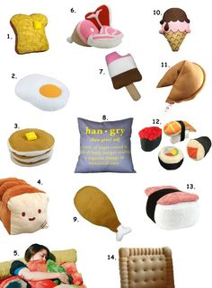Dreaming with Food | wedo. An assortment of pillows shaped as food!