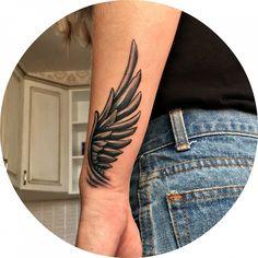 Tattoo Lyuba Bessonova – tattoo's photo Wing Tattoo – Fashion Tattoos Wing Tattoo Arm, Tattoo Arm Frau, Arm Band Tattoo, Tattoo Angel Wings, Angel Wings Drawing, Wing Tattoos On Back, Baby Angel Tattoo, Angels Tattoo, Feather Tattoos
