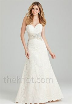 Gown features beading, embroidery and lace.  Silhouette: A-Line  Neckline: Sweetheart  Gown Length: Floor  Train Style: Attached  Train Length: Sweep  Fabric: Satin, Lace  Embellishments: Beading, Embroidery, Lace  Color: White, Ivory or Gold