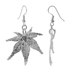 Silver Plated Japanese Maple Leaf French Hook Dangle Earrings