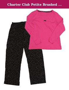 Charter Club Petite Brushed Knit Top and Pajama Pants Set (Petite/Small, Multi Dot). Full length pants. 100% Cotton. Machine washable. Genuine Product by Charter Club.