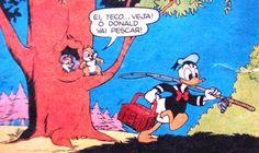 Pato Donald vai à pesca, ilustração Walt Disney.