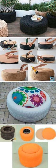 Tire furniture - DIY decoration for your terrace diyenglishdecor Home Crafts, Diy Home Decor, Diy And Crafts, Tire Craft, Tire Furniture, Recycled Furniture, Furniture Projects, English Decor, Tyres Recycle