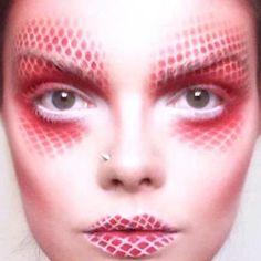 red and white airbrush-make-up
