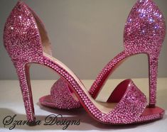 Christian Louboutin Pink Heels Custom Swarovski by szarinadesigns, $850.00