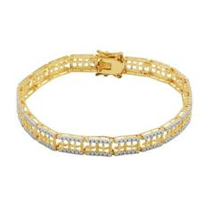 14k Yellow Gold Over Fine Silver Plated Bronze Two Tone Diamond Accent Link Bracelet, 7.25 inch