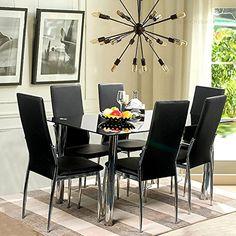 Merax Piece Dining Set Glass Top Metal Table Person Table And - 6 person glass dining table