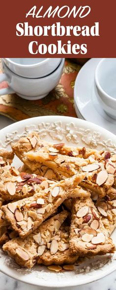 Low Unwanted Fat Cooking For Weightloss Almond Shortbread Cookies Perfect For The Holidays Almond Shortbread Cookie Recipe, Shortbread Recipes, Cookie Recipes, Dessert Recipes, Bar Recipes, Almond Cookies, Cookie Ideas, Mini Desserts, Cookies