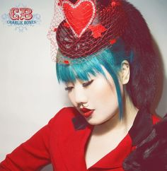 Valentine Queen of Hearts Black Satin Mini Topper Hat: Hey Sailor Hats
