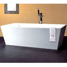 This modern tub has sleek lines and gives the finishing touch to an updated space!