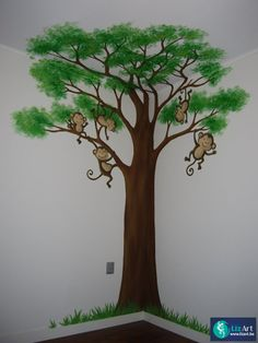 Wandschildering boom met aapjes