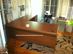 bush commercial L shaped office desk assembled in Washington DC by Furniture assembly Experts LLC - call (202) 787-1978