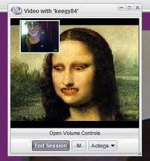 This is a funny image using an AIM chat service to show video chatting between a person and another individual who has their display picture coming up as the Mona Lisa, which is probably used for comedic purposes. However, the ability to alter your picture and allow for individual photos to be shown as your face photo is part of the continuously developing video chatting technology.