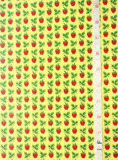 Vintage Bright Yellow with Red Strawberries and Green leaves - Cheerful, Can be used for dollhouse - Wallpaper By The Yard - FNH20-9 by WallpaperYourWorld on Etsy https://www.etsy.com/listing/156903025/vintage-bright-yellow-with-red