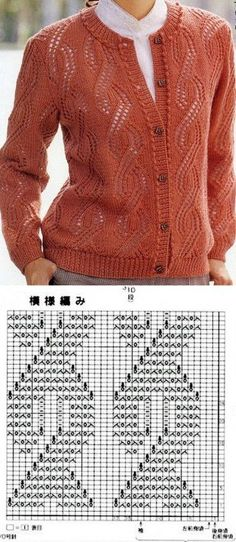 52 Ideas for knitting patterns free jacket charts Crochet Vest Pattern, Lace Knitting Patterns, Knitting Charts, Knitting Designs, Knitting Stitches, Knit Crochet, Pulls, Cable Knit, Childbirth Education