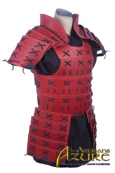 Immerse yourself in your role as a samurai warrior when your wear the Leather Samurai Armour. This beautiful armour includes a cuirass and pauldrons, which both feature a spectacular plated design to maintain superb flexibility. Larp Armor, Cosplay Armor, Cosplay Diy, Samurai Armor Diy, Armadura Cosplay, Japanese Warrior, Armadura Medieval, Pauldron, Leather Armor