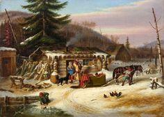 Cornelius Krieghoff Early Canadian Settlers, Laurentians, ca. Canadian Painters, Canadian Artists, Winter Landscape, Landscape Art, Alex Colville, Fur Trade, Cornelius, France, Canada