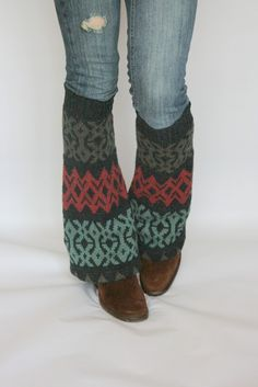 Upcycled Recycled Repurposed Sweater Leg Warmers Ikat Charcoal Teal Taupe Ruby (great to cover up ugly-yet-comfy shoes!)