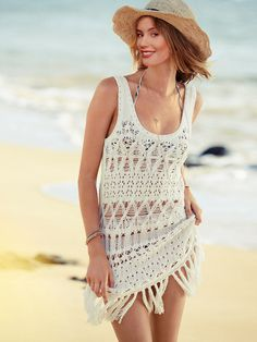 Boho Fringe Detail Beach Dress