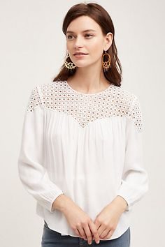 Ventura Peasant Blouse - I have a shirt similar to this I love, the shear panel is cut straight across and the pattern is embroidered flowers.  I don't like the v on this piece.