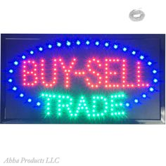 Large Buy-Sell Trade Pawn Shop Barter Exchange LED Animated Open Store Sign neon…