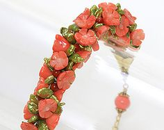 Coral and Pearl Kumihimo Bracelet, Braided Coral and Pearl Bracelet