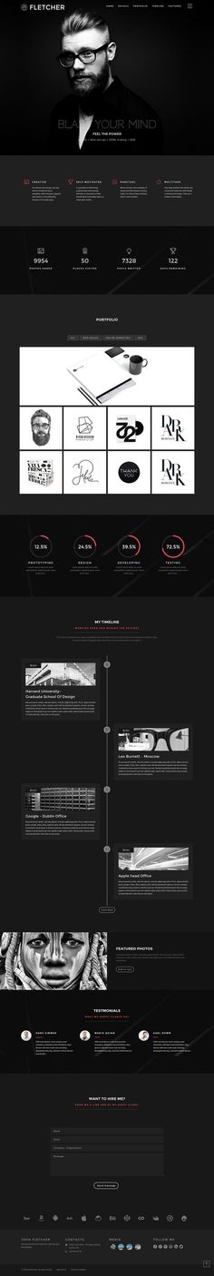 'Fletcher' is a dark-schemed One Page HTML template that aims to provide a portfolio layout for an individual. Features include a sticky header, off-canvas navigation, slick Rev. Portfolio Webdesign, Web Portfolio, Portfolio Website Design, Portfolio Layout, Layout Design, Web Ui Design, Web Design Trends, Web Layout, Cv Website