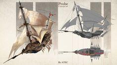 Artstation - probe, atec concept artist fantasy vehicles in Fantasy Rpg, Fantasy Artwork, Fantasy World, Steampunk Ship, Sea Pirates, Flying Ship, Fantasy Setting, Cg Art, Fantasy Landscape