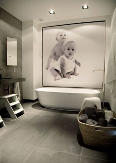 Childrens bathroom. Now if I could do this but Have the picture framed so if it got wet it would not be damaged- AMAZING