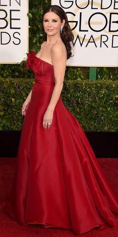 Golden Globes 2015: Red Carpet Arrivals - Catherine Zeta-Jones from #InStyle #2015goldenglobes #redcarpet