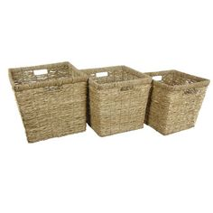Woven rush grass baskets are perfect for storing odds and ends.   $59