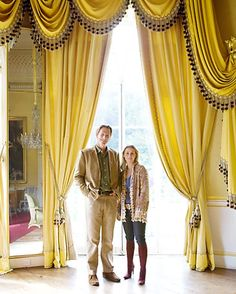 Edward and Camilla Peake, in the yellow drawing room, Sezincote, Gloucestershire