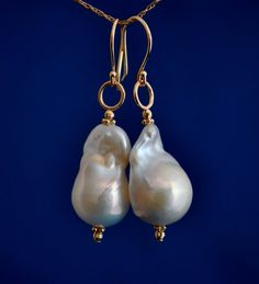 Baroque pearl earrings. I've been more interested in the crazy shapes of baroque pearls recently - maybe because I see them  more now than I have before.