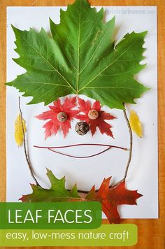 Leaf Faces - An easy, low-mess, nature craft - Picklebums Autumn Activities For Kids, Nature Activities, Fall Crafts For Kids, Projects For Kids, Art For Kids, Kid Art, Stem Activities, Preschool Crafts, Fun Crafts