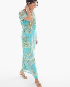 Chico's Women's Cold-Shoulder Paisley Sienna Maxi Dress, Blue Multi, S