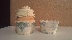 set of six vintage look blue snowflake cupcake wrappers on Etsy, $3.00