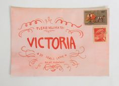 "This envelope is one of my favorite examples of fan art made with inspiration from Wes Anderson's ""The Grand Budapest Hotel."" Tips from the artist's blog, Thimble: ""All you have to do is paint an envelope salmon pink with watercolors, allow it to dry, then use red paint to do a simplified version of the Mendl's box design."""