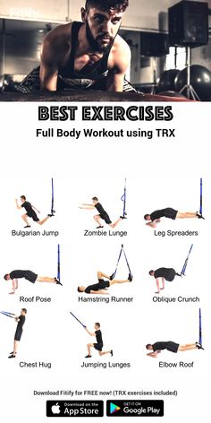 Build Muscle Workout - with Suspension Trainer (TRX). Combination of upper body, core and Trx Full Body Workout, Muscle Building Workouts, Workout Exercises, Core Strength Workout, Trx Core Exercises, Trx Ab Workout, App Workout, Body Exercises, Body Workouts