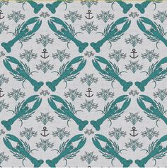 Blue Lobsters  Lobster Marine Wallpaper by Holli Zollinger, available from Spoonflower: