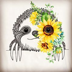 sloth with ink and flowers - usb bellek Cute Drawings, Animal Drawings, Cute Sloth Pictures, Sloth Drawing, Sloth Tattoo, Baby Sloth, My Spirit Animal, Cute Wallpapers, Amazing Art