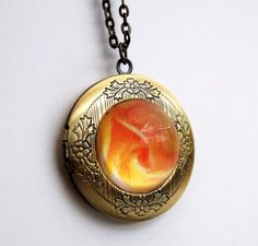 Locket Pendant with yellow rose print Victorian by NewCreatioNZ, $29.00