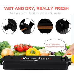 Vacuum Sealer Machine, BODECIN Automatic Compact Vacuum Sealing System, Portable Food Sous Vide Sealer, Dry & Moist Food Mode for Food Preservation Packing kit with 15 Pcs Vacuum Bags for Free Vacuum Packaging Machine, Food Saver Vacuum Sealer, Portable Food, Freezer Burn, Sous Vide Cooking, Packing Machine, Specialty Appliances, Food Waste, Preserving Food